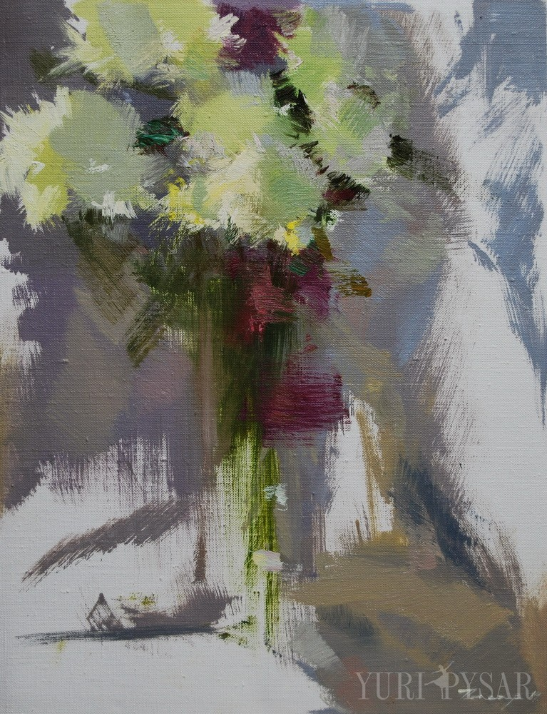 oil painting of flowers in vase