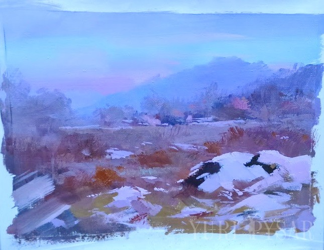 winter painting of a landscape scenery on canvas