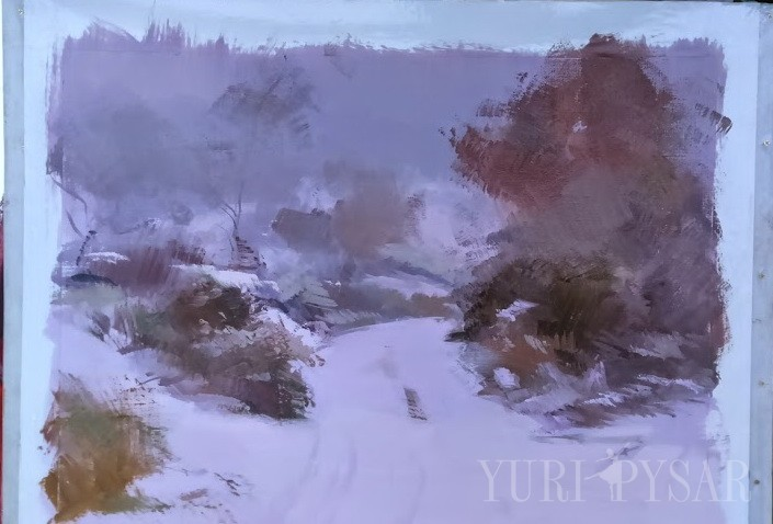 painting of a beautiful winter scenery