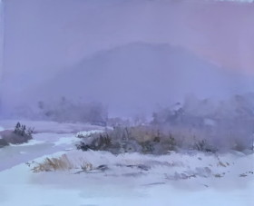 white snowy scenery in mountains