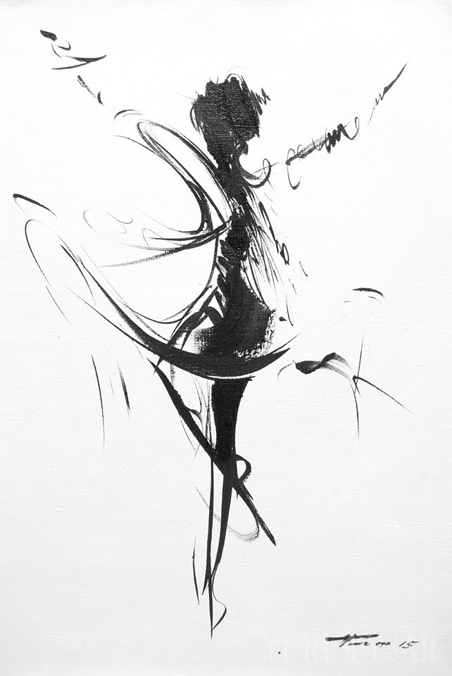 contemporary painting of a ballerina dancer
