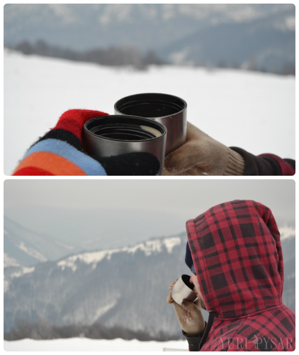 winter landscape and cofee
