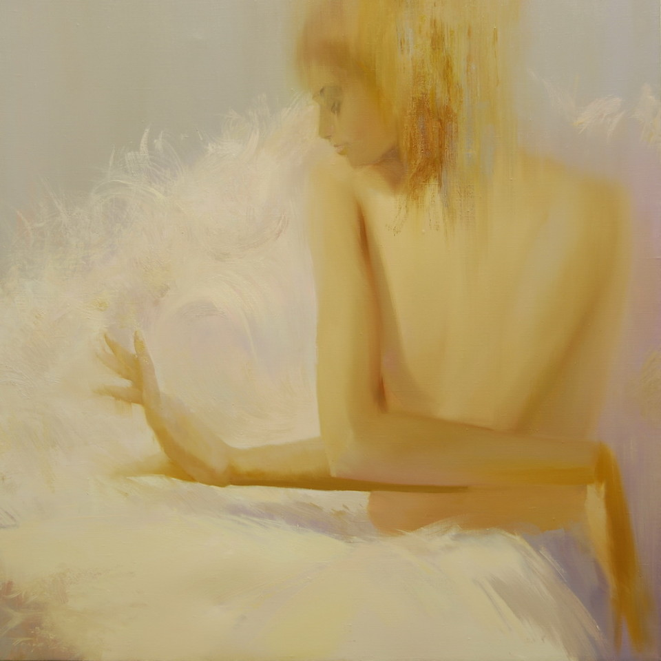 contemporary oil painting of a woman in white