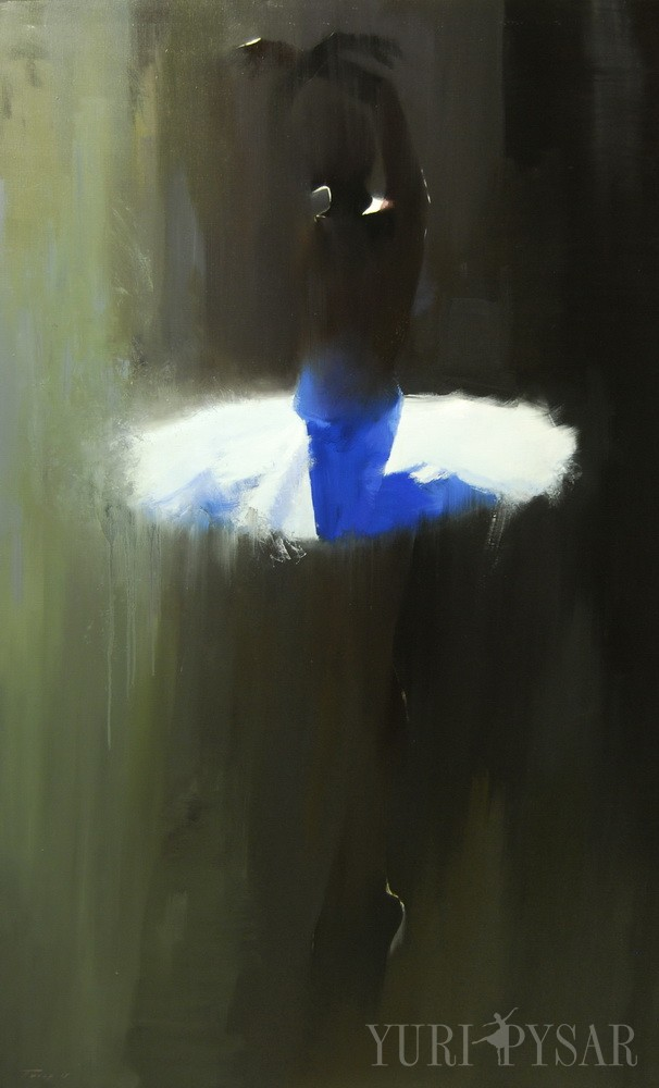 large black and white painting of ballerina