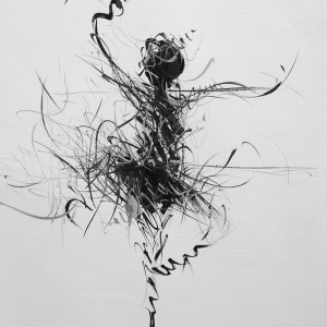black and white artwork of a ballet dancer