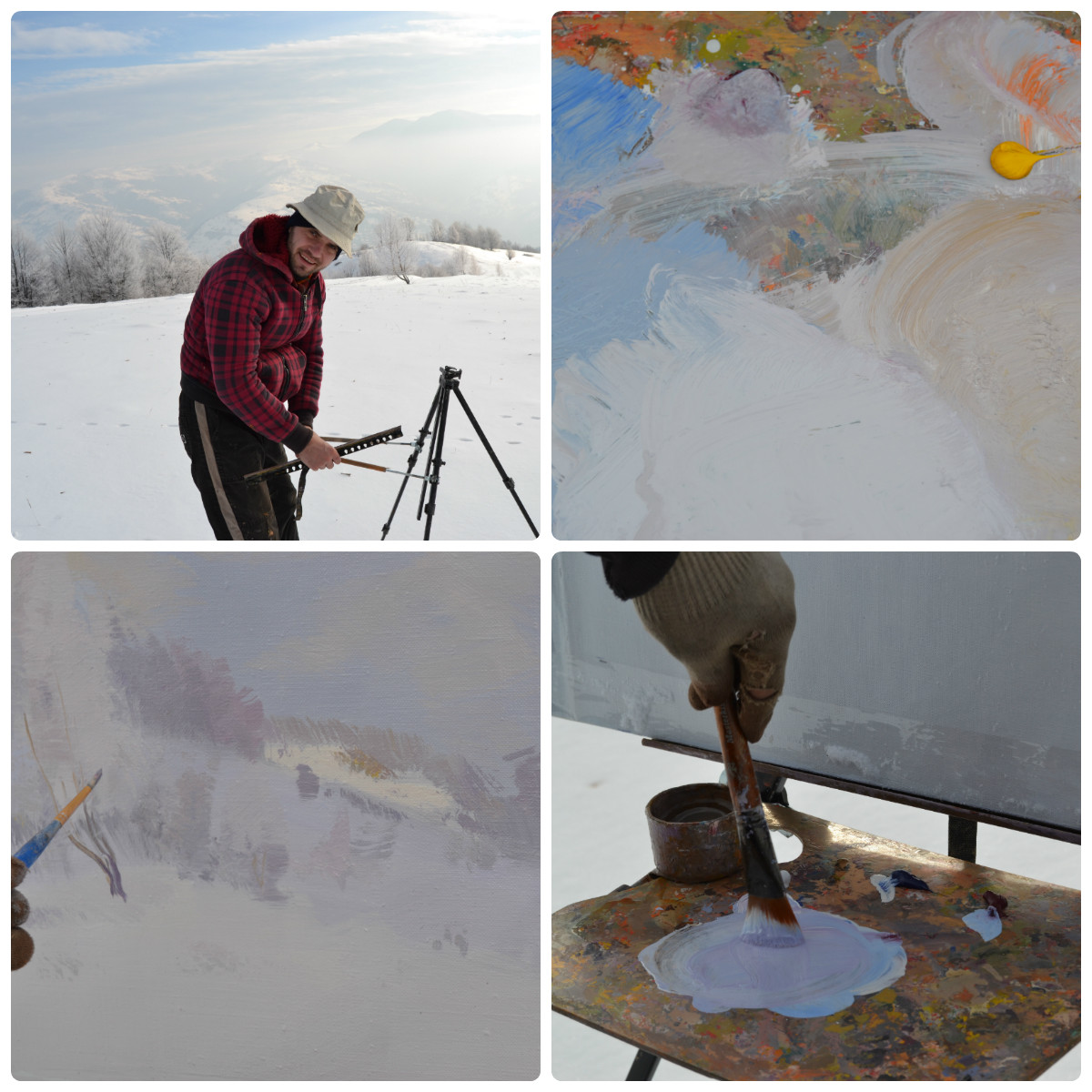 creating winter landscape painting on a cold day