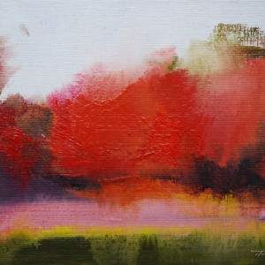 red oil painting of autumn landscape in abstract manner