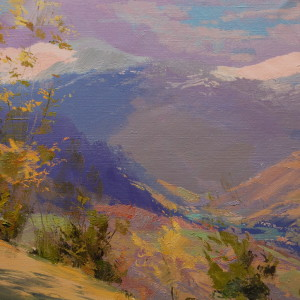 oil landscape painting of blue mountains