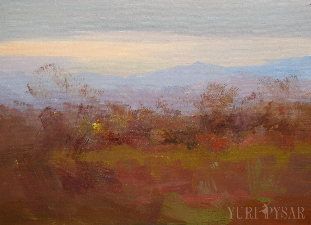 oil landscape painting of the blue mountains in the background