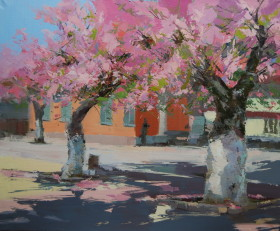 spring sakura trees oil painting while blossoming in pink