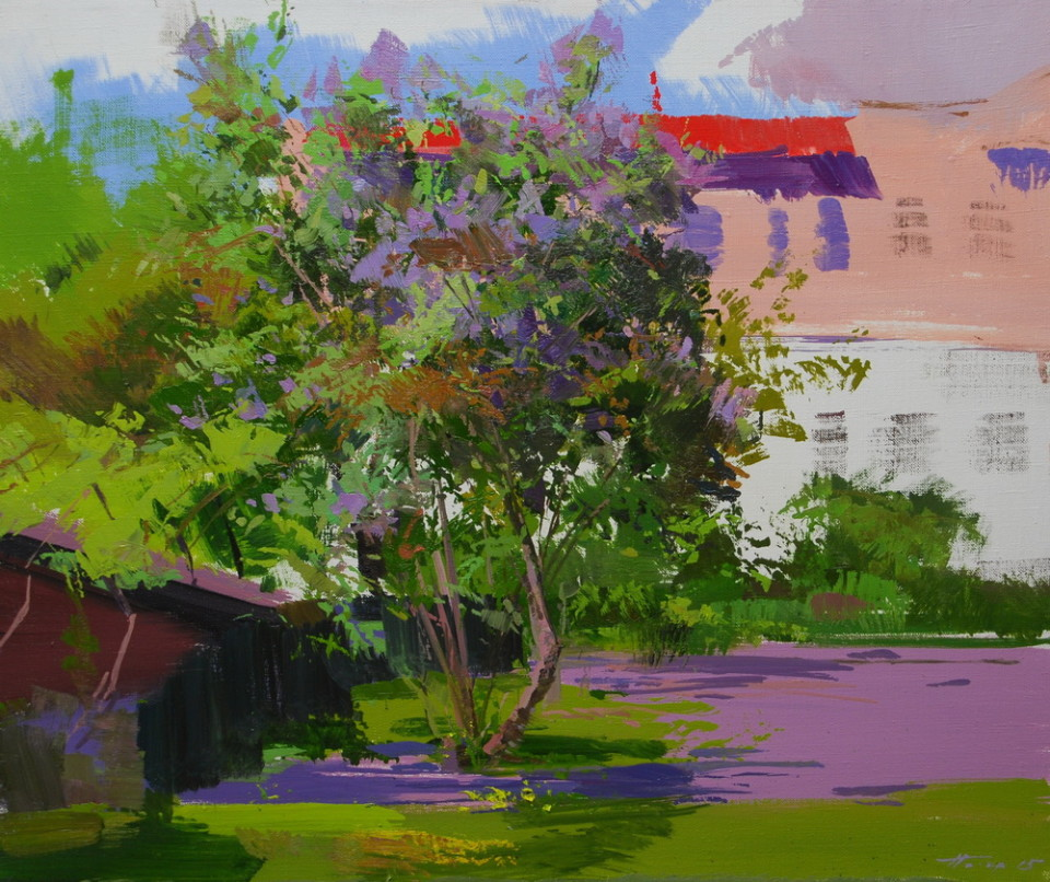 beautiful painting of lilacs in blossom