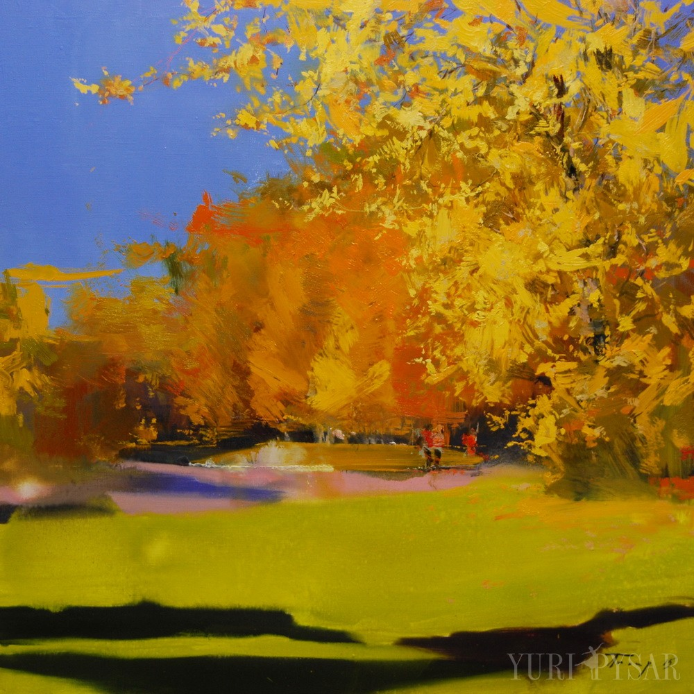 oil painting of a golden landscape fall on canvas