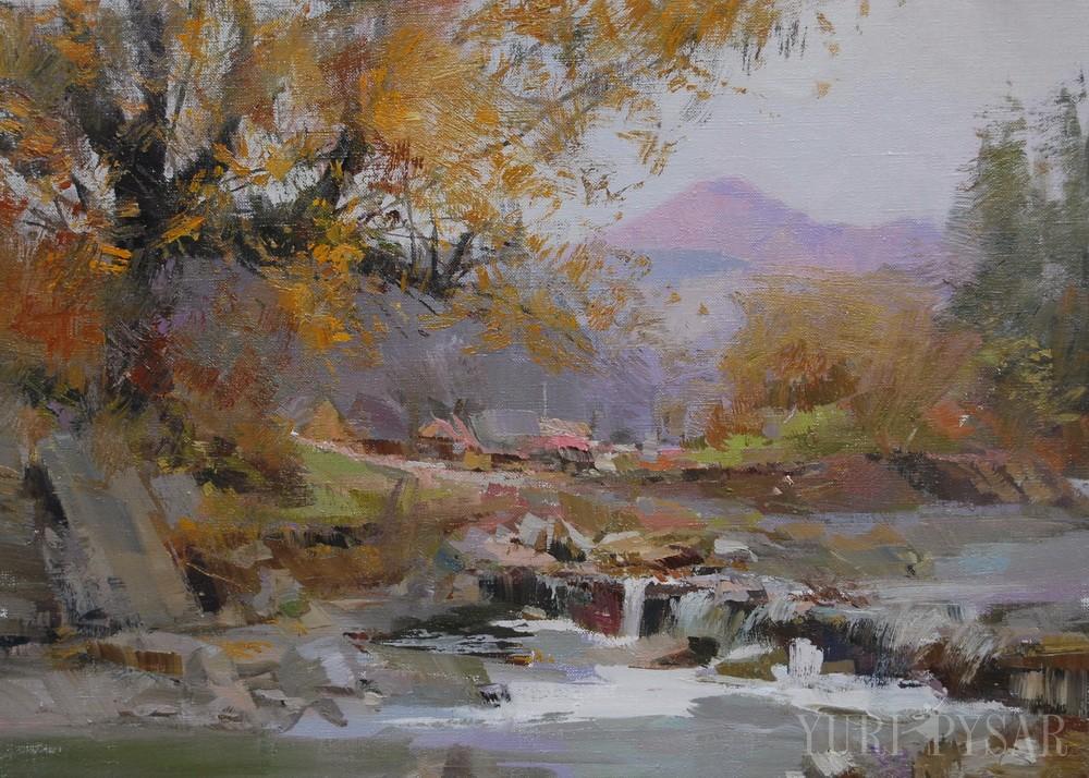 картина пізня осінь, дощ в горах