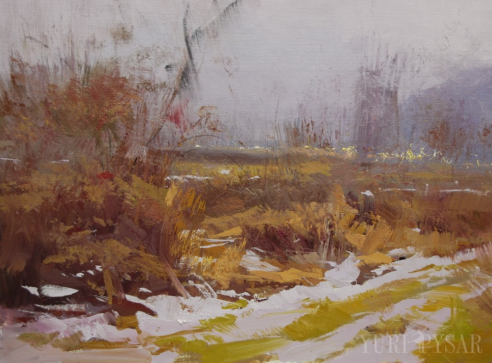 witer landscape painting of beautiful nature, naked trees, bushes
