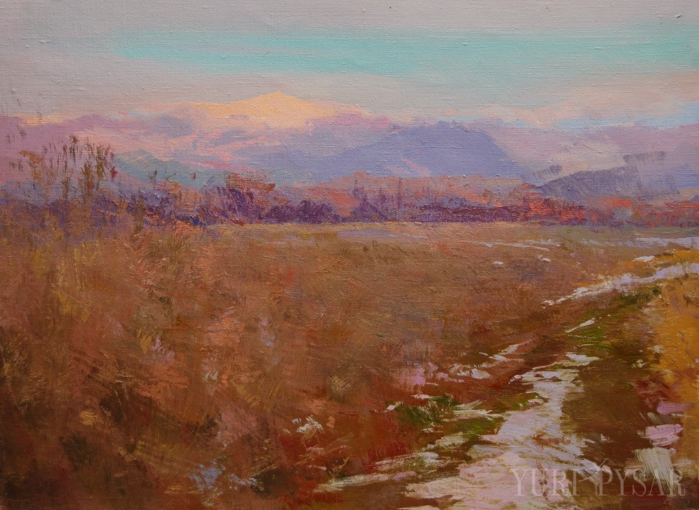 contemporary landscape artwork depicts mountains, snowy path that leads to them