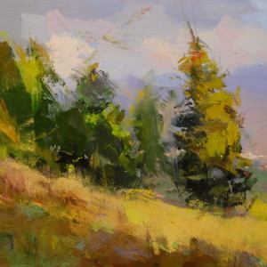 картина маслом, пейзаж Карпат смереки