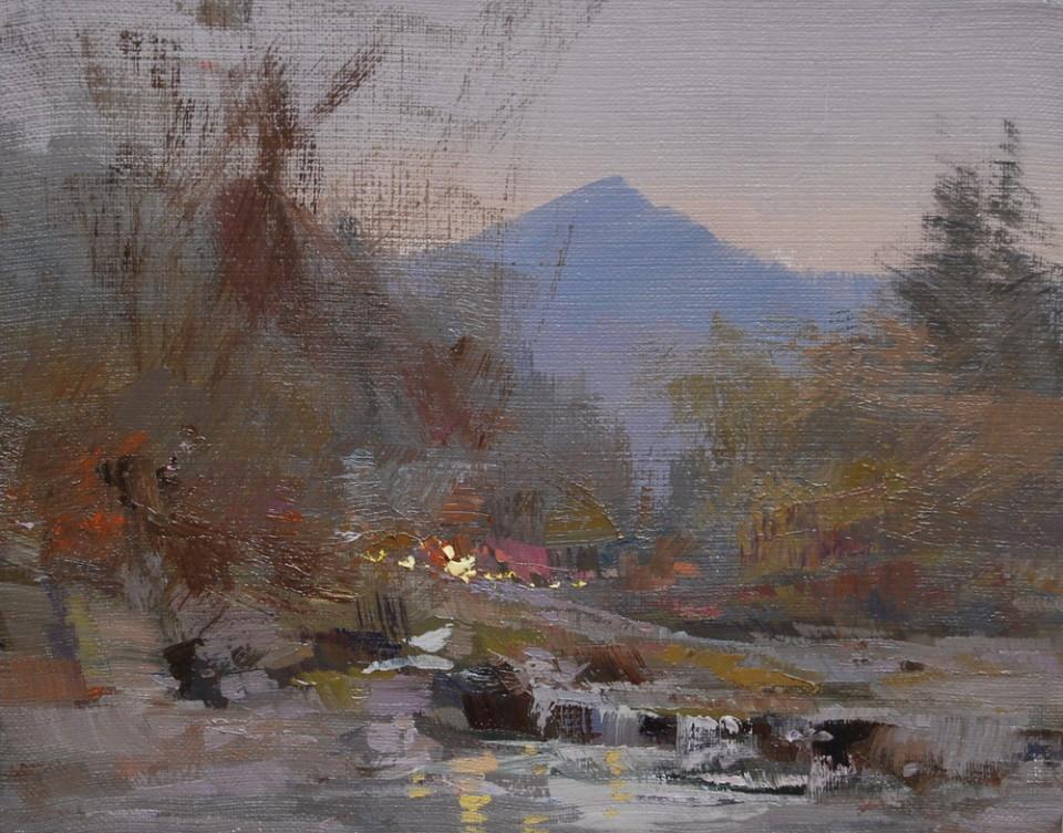 картина пейзж олійний живопис, річка тиса