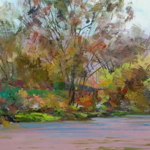 картина пейзаж річка Тиса, живопис маслом