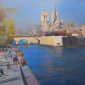 painting of beautiful paris, view from the seine on the notre dame de paris