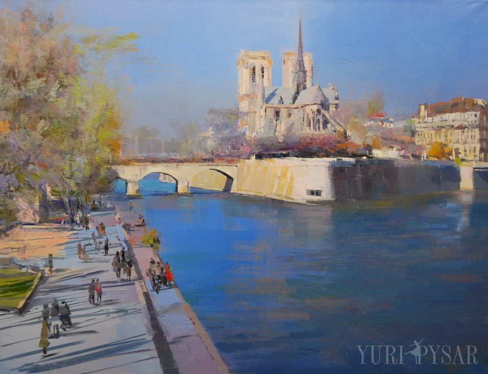 painting of beautiful paris, view from the seine on the notre dame de paris