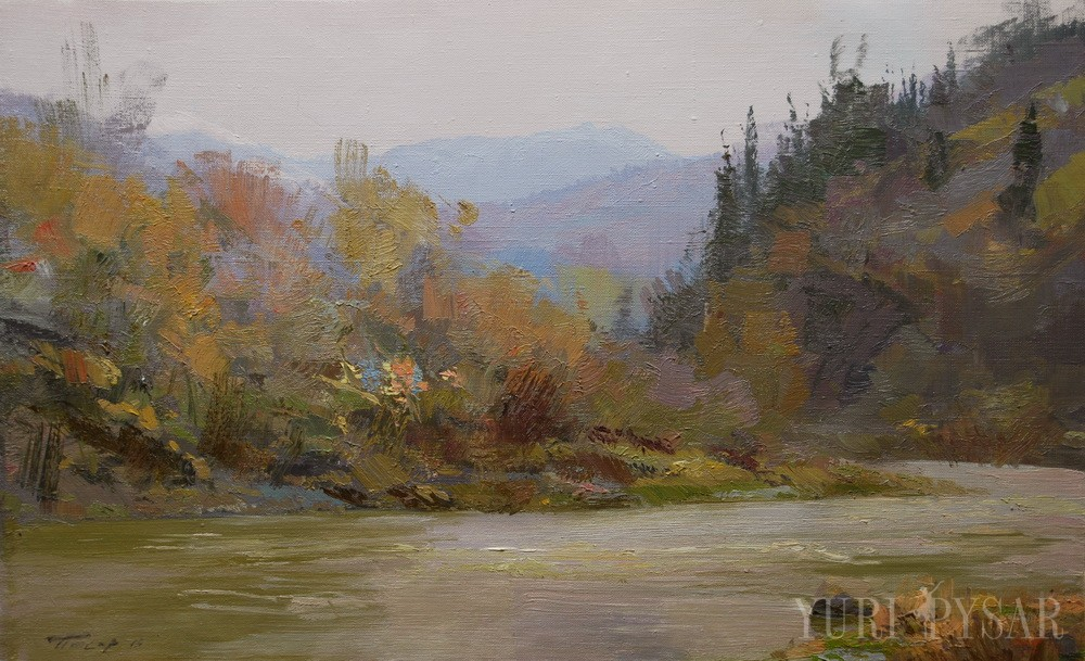 original landscape painting of a river after the rain