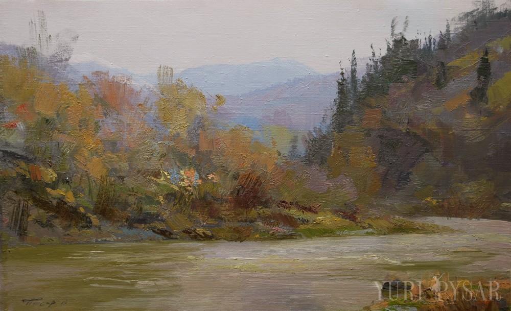 пейзаж картина гірська річка в дощовий день