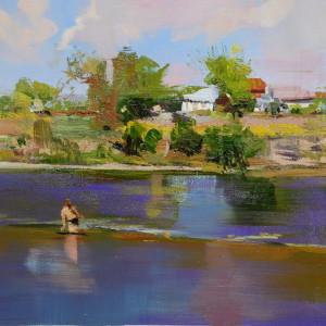 картина маслом пейзаж річка Дністер