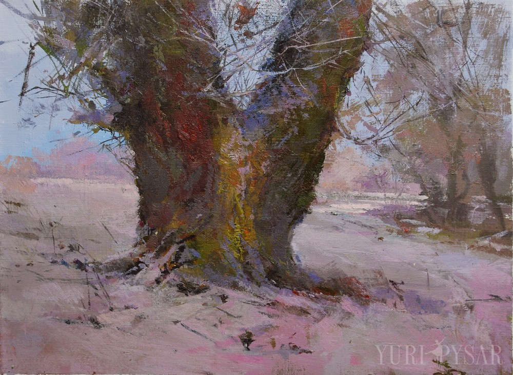 oil landscape painting of a beautiful tree