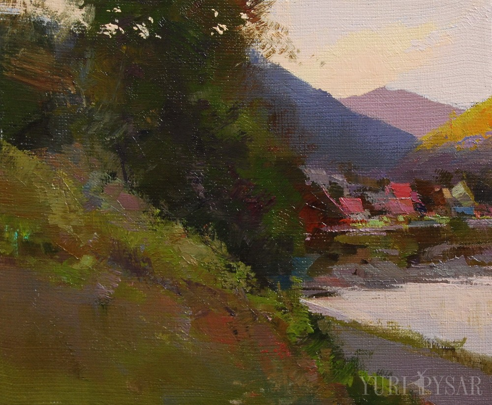small painting of carpathian landscape on canvas with oil