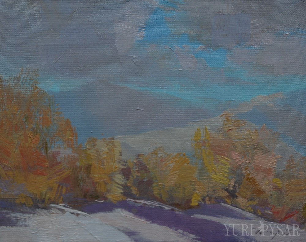 winter in mountains on canvas oil painting
