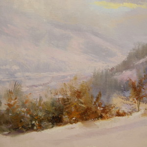 caroathian mountains in snow on landscape painting in oil