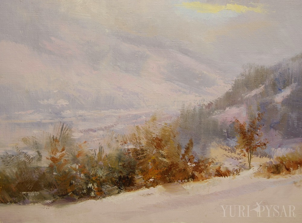 caroathian mountains in snow on landscape painting in oil