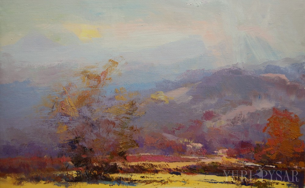 oil landscape art canvas of a sunny day nature carpathian mountains