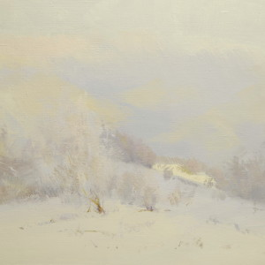 oil landscape painting of winter in mountains