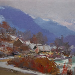 oil winter canvas painting of landscape scene, huts, moutnains