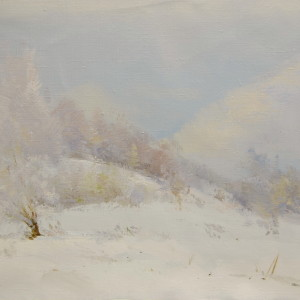 oil artwork of winter landscape of Carpathian mountains