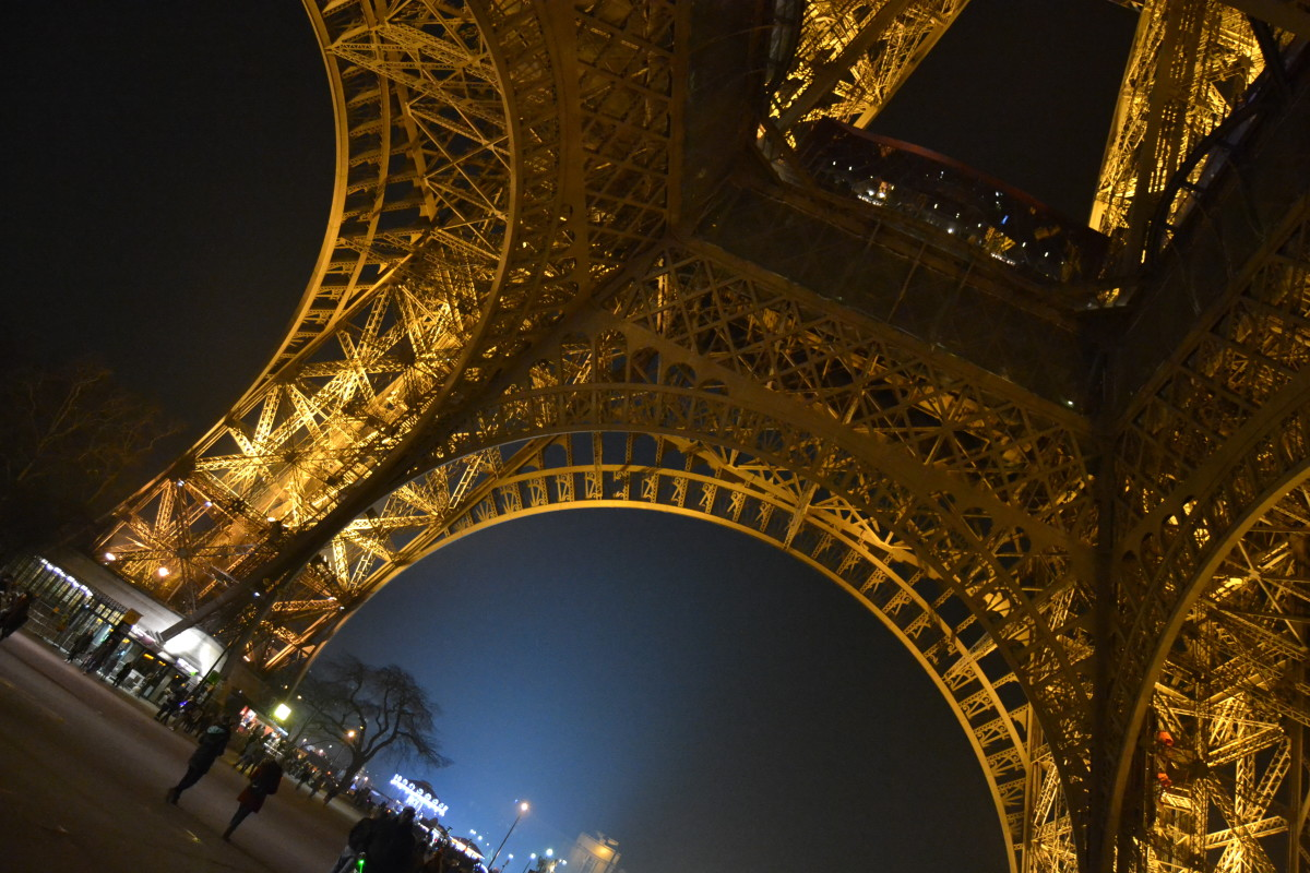 eiffel tower base in Paris by night lights