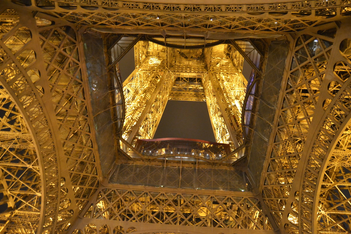 Paris main sculpture Eifel tower in golden lights