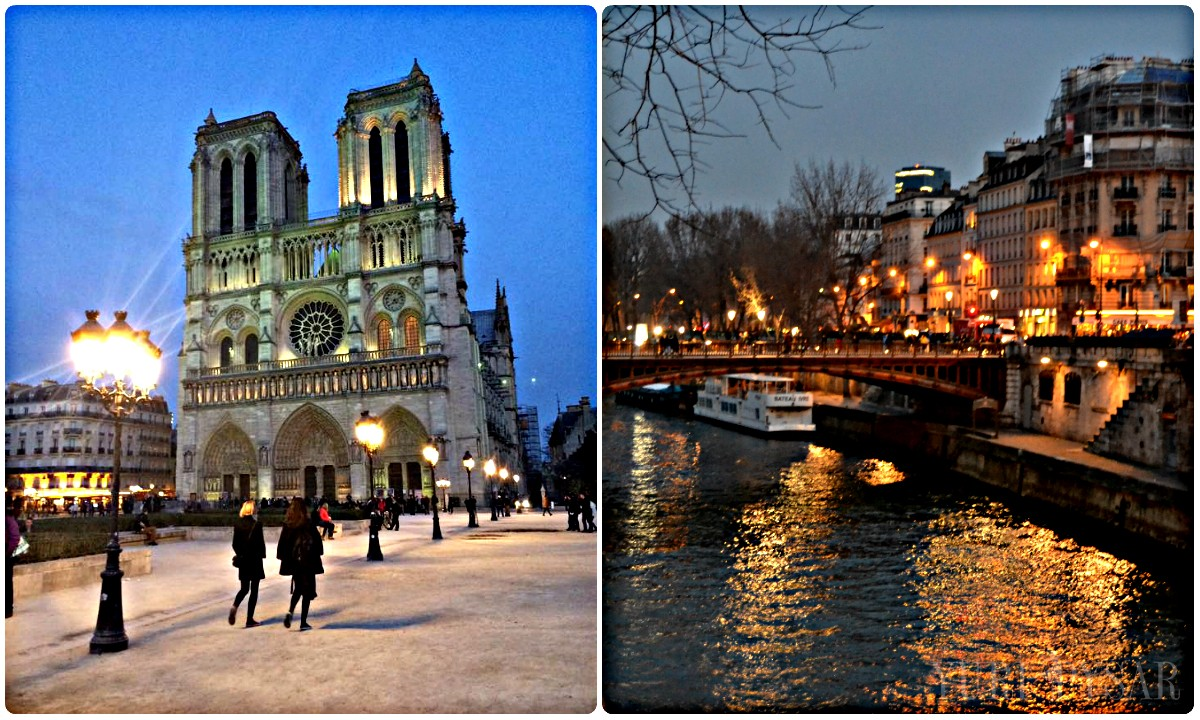 notre dame in the evening lights