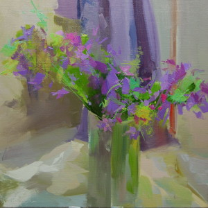 lilac floral painting still life on canvas