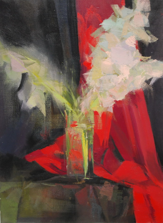 contemporary painting of gladiolus flowers in red and black on canvas