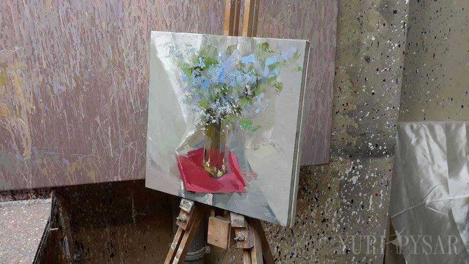 blue and red forget me not painting on canvas
