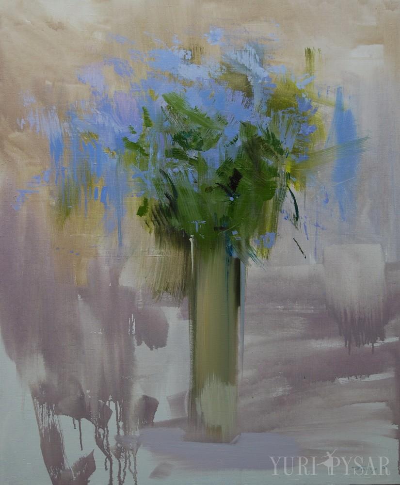 blue floral artwork on canvas depicts spring flowers