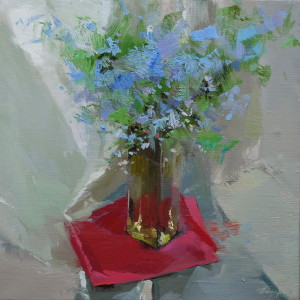 spring floral painting of blue flowes in a glass vase