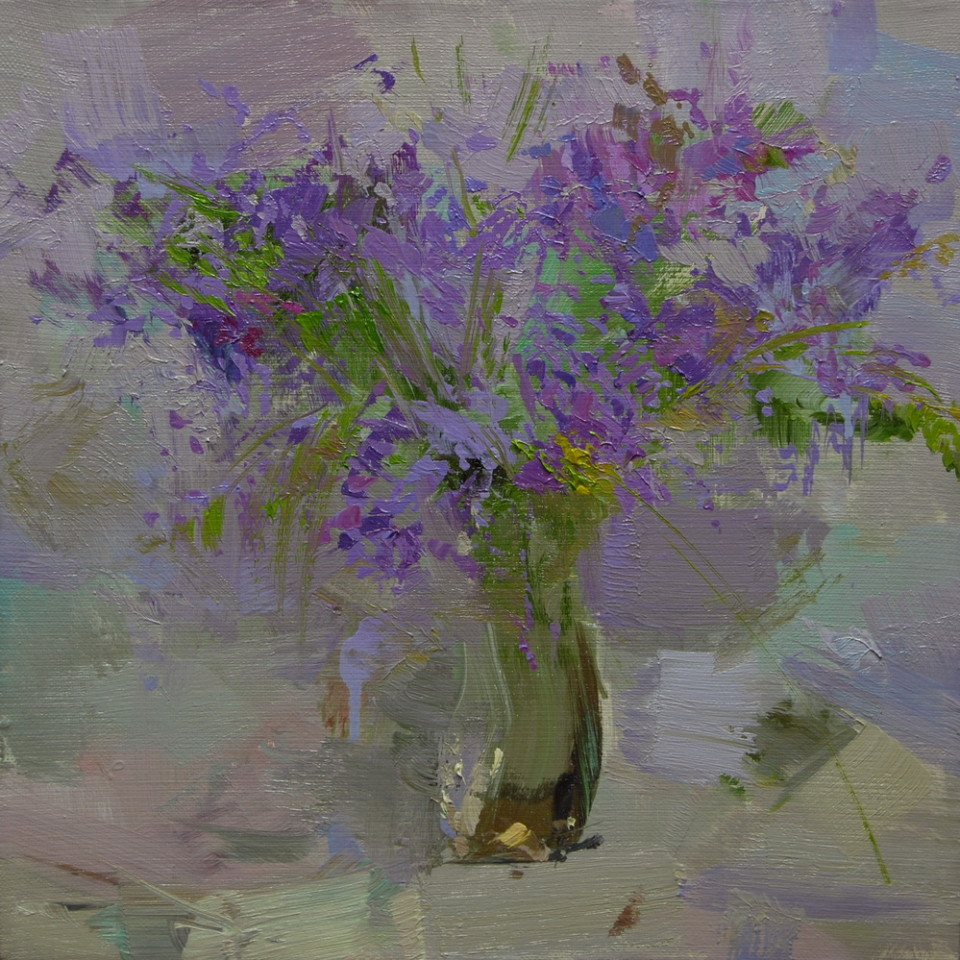 still lfie painting of flowers in a glass vase