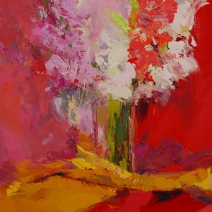 still life painting of pink gladiolus