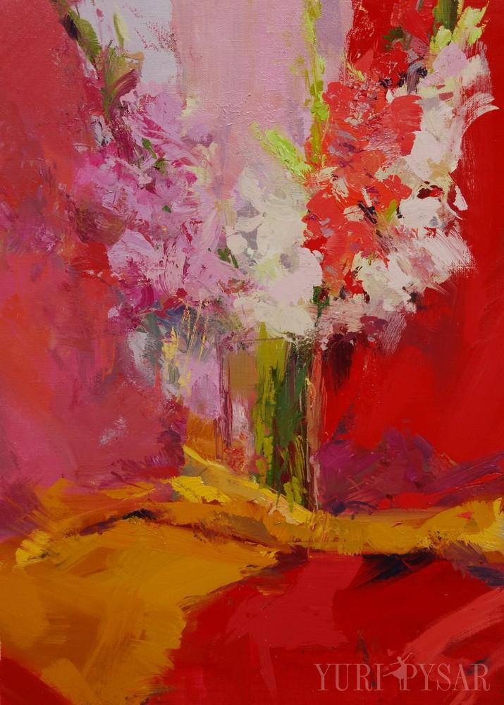 still life painting of pink gladiolus