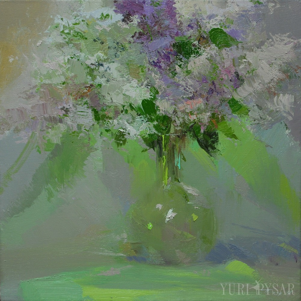 bright lilacs painting in a stylish glass vase on canvas