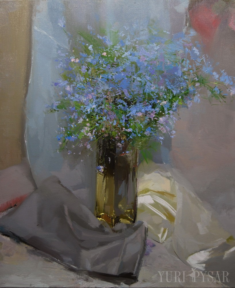 original painting of a glass vase with flowers