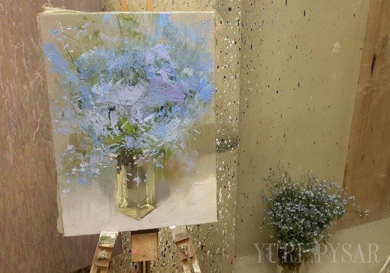 oil still life painting with flowers